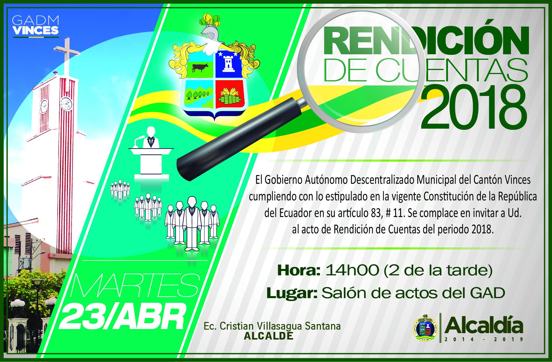 Invitación para la Rendición de Cuentas 2018
